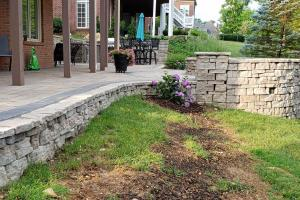 large rounded wall patio
