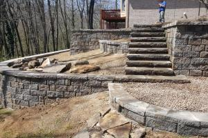 Retaining walls with steps