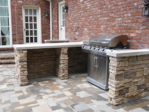 Outdoor stone cooking area