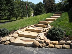 Landscaping steps with stones