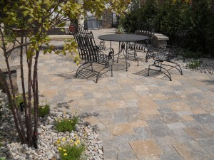 Patio with landscaping