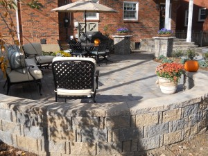 brick patio with round wall