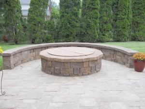 Outside patio round firepit with seating