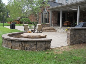 rounded brick patio with seating