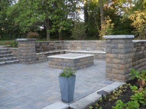 Outside patio square firepit with seating