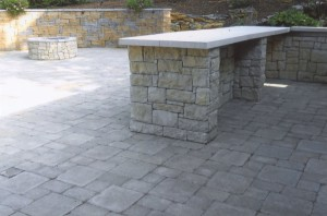 brick fireplace with patio bar