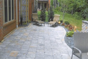 brick patio with landscaping