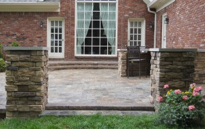 Patio with stone entrance
