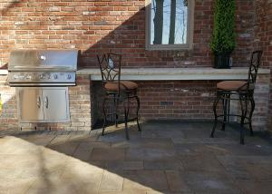 outdoor cooking with grill and bar