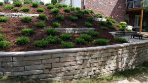 retaining wall with garden