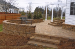 rounded brick patio