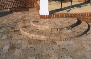rounded brick steps