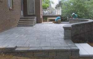 rounded grey brick patio