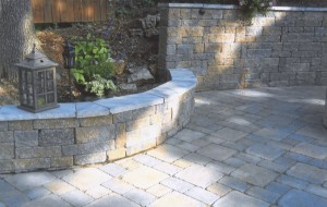 rounded retaining wall and fence